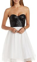 Charlotte Russe Sparkling Sequined Strapless Bustier