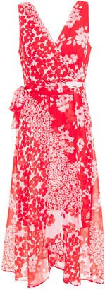 DKNY Wrap-effect Floral-print Georgette Midi Dress
