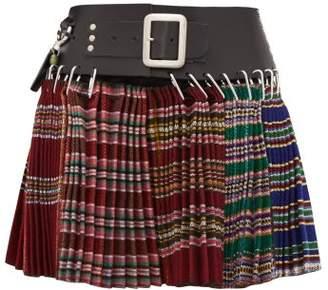 Chopova Lowena - Pleated Recycled Wool-jacquard Mini Skirt - Womens - Red Multi
