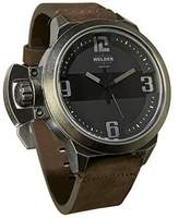 Welder K24-3604 Men's Quartz Watch with Black Dial Analogue Display and Brown Leather Strap