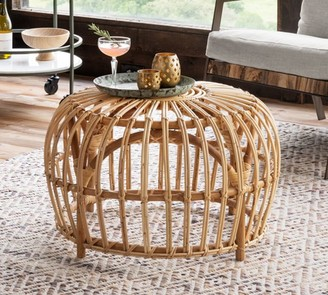 "Pottery Barn Rattan 27.5"" Accent Table"