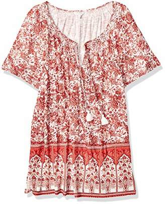 Lucky Brand Women's Plus Size Short Sleeve Printed TOP