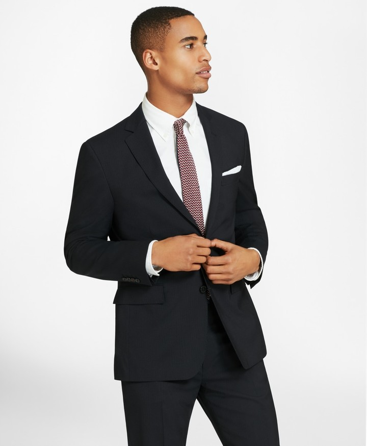 Brooks Brothers Two-Button Pinstripe Wool Suit Jacket