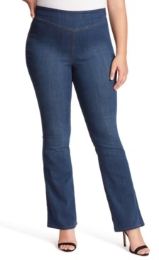 Jessica Simpson Trendy Plus Size Pull-On Flare Jeans
