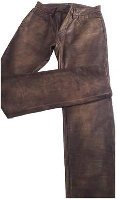 Polo Ralph Lauren Brown Leather Trousers