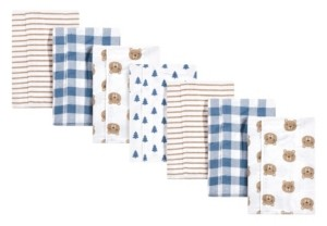 Hudson Baby Baby Girls and Boys Little Bear Flannel Burp Cloths, Pack of 7