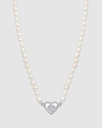 Elli Jewelry Necklace Edelweiss Flower Heart Oktoberfest Shell Pearl 925 Sterling Silver