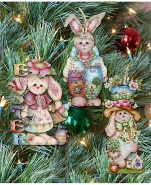 Designocracy Easter Wooden Ornament - Set of 3