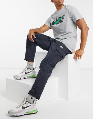 Nike Club cuffed woven cargo joggers in black