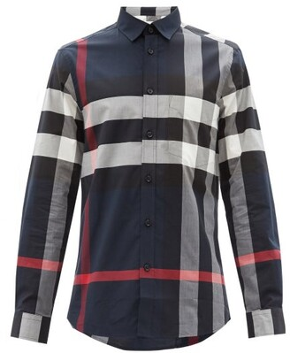 Burberry Somerton Nova-check Cotton-blend Poplin Shirt - Navy Multi