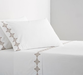 Pottery Barn Tile Embroidered Organic Cotton Pillowcases - Set of 2