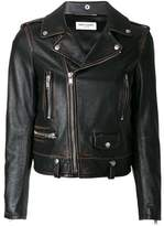 Saint Laurent Women's Black Leather Outerwear Jacket.
