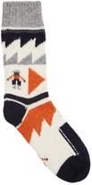 Folk Ecru Intarsia Wool Blend Socks