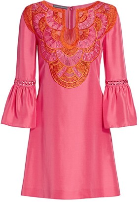 Alberta Ferretti Embroidered Bell-Sleeve Silk Dress