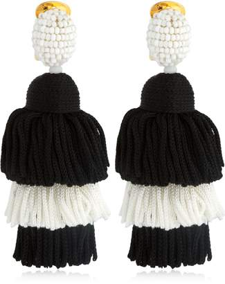 Oscar de la Renta Long Silk Tassel Earrings