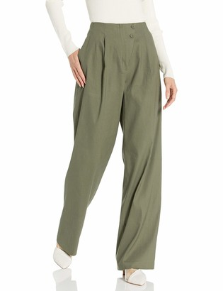 BCBGMAXAZRIA Women's Pleated Asymmetric Front Pant
