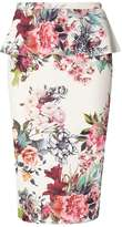 Dorothy Perkins Ivory Floral Pephem Pencil Skirt