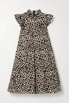 Sea Apollo Tiered Ruffled Leopard-print Cotton-poplin Mini Dress - Leopard print