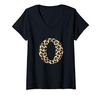 Womens Leopard Cheetah Print Letter O Initial Rustic Monogram Gift V-Neck T-Shirt