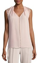 Elie Tahari Barbara Lace-Trim Silk Blouse w/ Pearly Embellishments, Pink