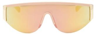 Le Specs Viper Reflective-lens Flat-top Sunglasses - Womens - Gold