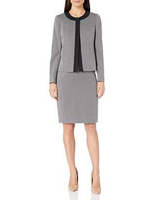 Le Suit Women's 1 Button Two Tone Novelty Slim Skirt Suit