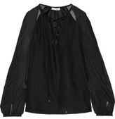 Altuzarra The Benny Lace-Up Silk-Chiffon And Silk-Satin Blouse