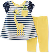 Kids Headquarters 2-Pc. Striped Giraffe Tunic & Capri Leggings Set, Baby Girls (0-24 months)