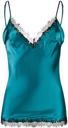 Gilda and Pearl Silk Lace-Trim Camisole Top