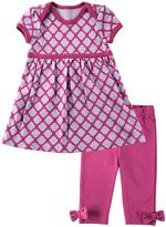 Hudson Baby Lavender & Magenta Quatrefoil Lap Dress & Pants