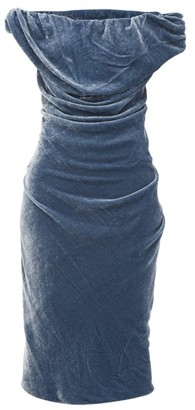 Vivienne Westwood Ginnie Draped Velvet Pencil Dress - Blue