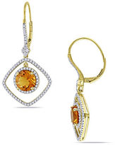 Concerto 14K Yellow Gold Citrine Earrings with 0.75 TCW Diamonds