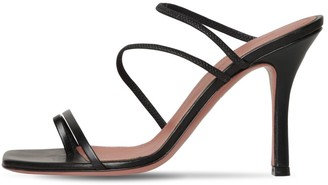 Amina Muaddi 95mm Naima Leather Toe Ring Sandals