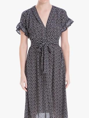 Max Studio Tie Waist Spot Print Dress, Black
