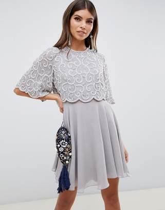 Asos Design DESIGN pearl embellished crop top mini dress