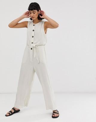 Weekday wide leg tie waist jumpsuit with button detail in light beige-Cream