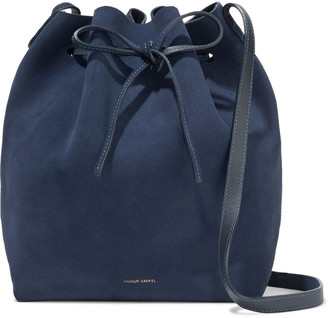 Mansur Gavriel Leather-trimmed Suede Bucket Bag
