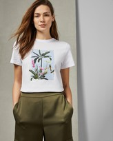 Ted Baker Pistachio Printed Cotton T-shirt