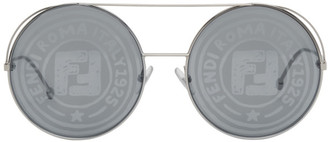 Fendi Silver Round Aviator Sunglasses