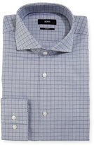 BOSS Box-Check Slim-Fit Dress Shirt, Navy
