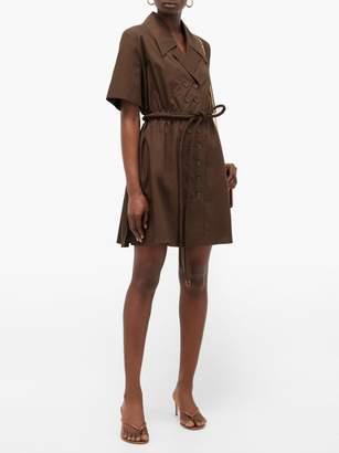 Fendi Belted Cotton-poplin Shirtdress - Womens - Dark Brown