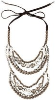 Brunello Cucinelli Wood, Crystal & Leather Necklace