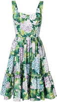 Dolce & Gabbana hydrangea print tiered dress - women - Cotton - 46