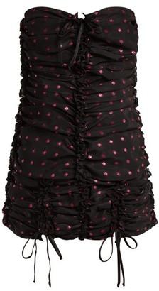 ATTICO The Ruched Polka-dot Organza Mini Dress - Womens - Black Multi