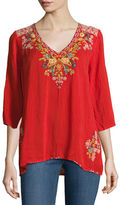 Johnny Was Mary Ann V-Neck Embroidered Blouse