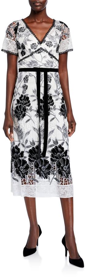 Marchesa Notte Floral Velvet Embroidered & Guipure Lace Short-Sleeve Midi Dress