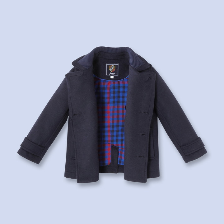 Jacadi Plaid lined wool peacoat