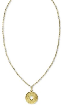 "Argentovivo Cut-Out Circle Beaded Chain 18"" Pendant Necklace in Gold-Plated Sterling Silver"