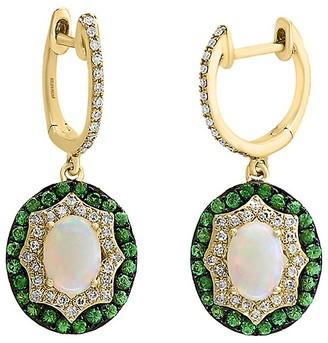 Effy 14K Yellow gold, 0.29TCW Diamond, Opal Tsavorite Earrings