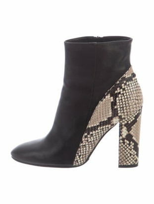 Barneys New York Embossed Leather Boots Black